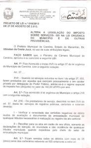 projeto de lei 018