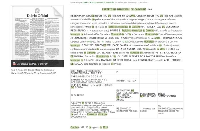 Pág. 5. Terceiros. Diário Oficial do Estado do Maranhão (DOEMA) de 05 de Outubro de 2015